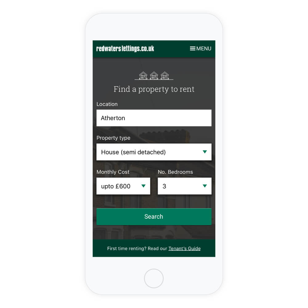 responsive website design – a property search website displayed on a mobile phone