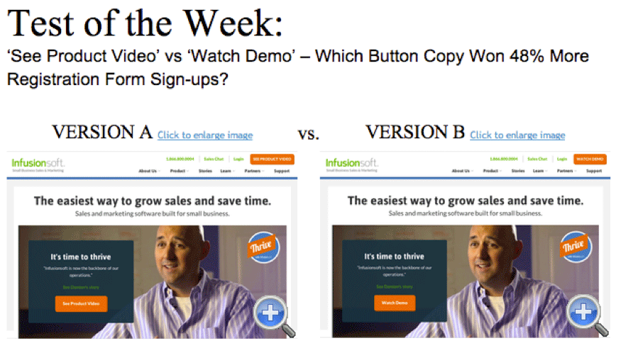 comparison of two websites in an A/B test